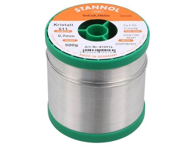 sn100k511/0.7/0.5 Lot Sn99, 3Cu0, 7 + Nige Löten Kabel 0.7mm 500 g ...