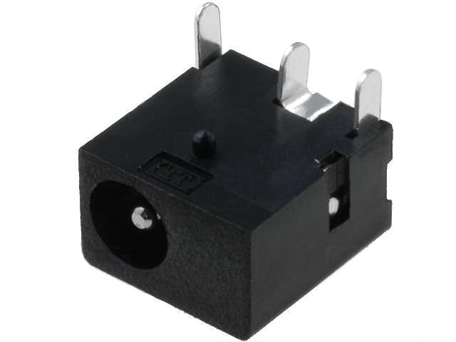 1 X DC-8 (FC68145) Socket; DC supply; male; 3,5/1,3mm; THT; 1A; 12VDC; angled 90